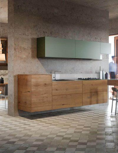 Cucina-Legno-con-Laccato-Verde